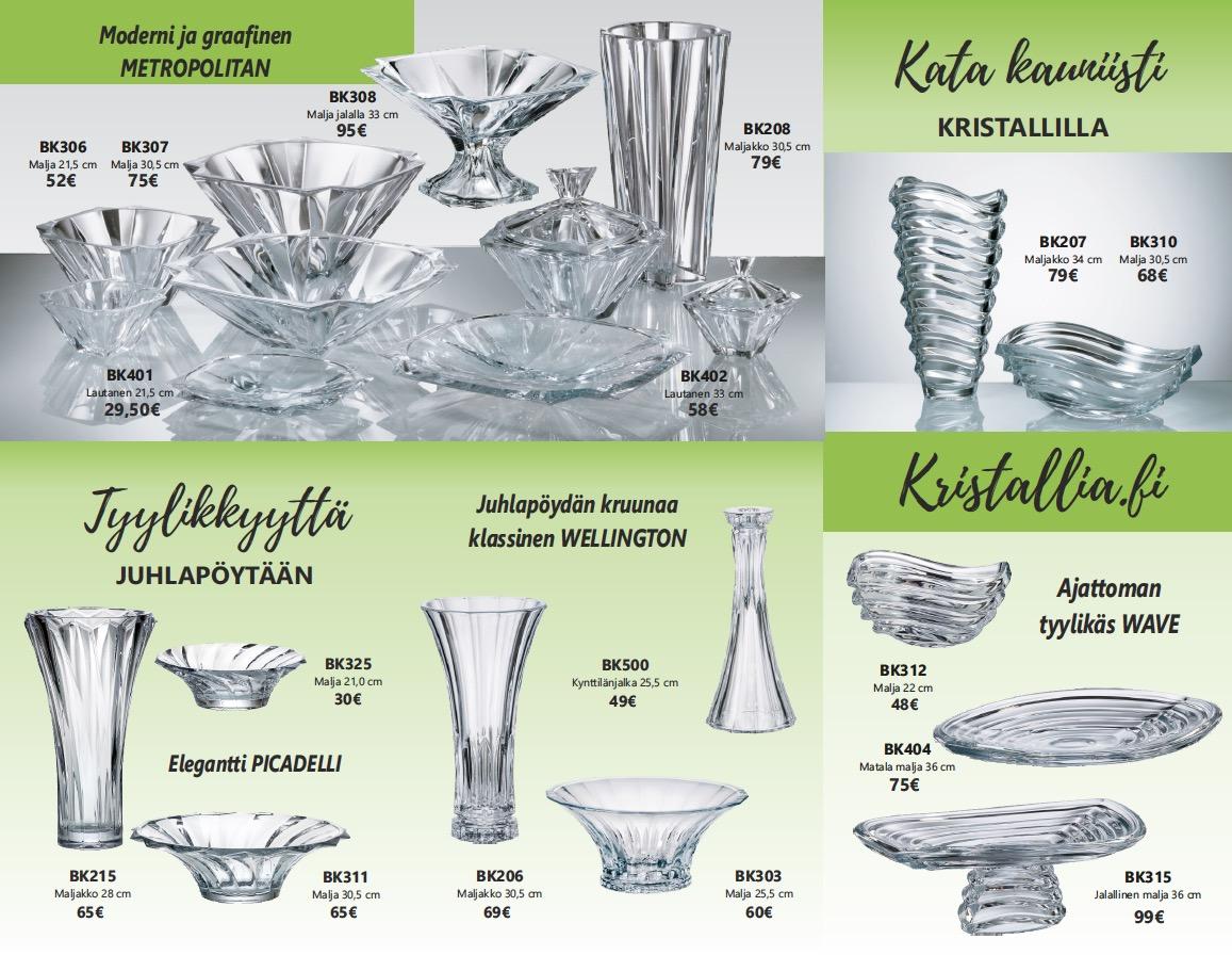 Kristallia.fi suositut kastepöydän setit kastemaljat