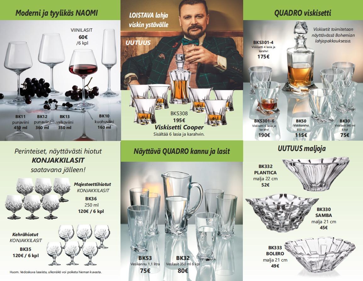 Kristallia Bohemia viski konjakki ja viinilasit